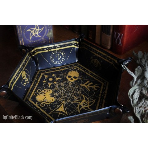 Elder Dice: Hexagon Folding Dice Tray - Gold on Black in Other accessories