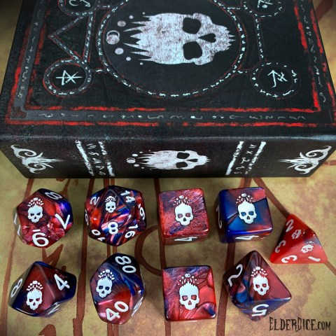 Elder Dice: Mark of the Necronomicon - Bone White on Blood and Magick Polyhedral Set in Dice sets