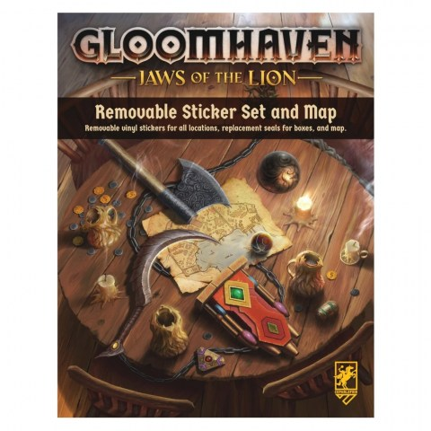 (Pre-order) Gloomhaven: Jaws of the Lion Removable Sticker Sheet & Map - стикери от винил за многократна употреба