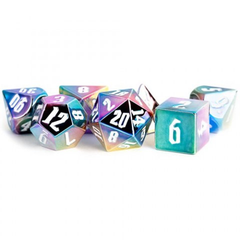 Polyhedral 7-Die Set: Metallic Dice Games - Aluminum Plated Acrylic Rainbow Aegis with White Numbers in D&D Dice Sets