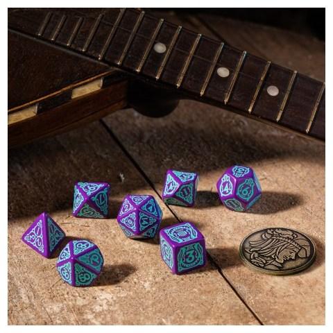Комплект D&D зарове: Q-Workshop The Witcher Dandelion - Half a Century of Poetry (Purple & Turquoise) в D&D и други RPG / D&D Зарове