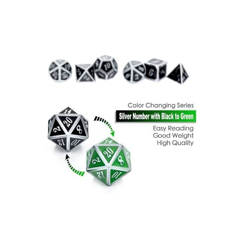 Metal & Enamel 7 Dice Set: Shifting Colors Black to Green & Silver Numbers in D&D Dice Sets
