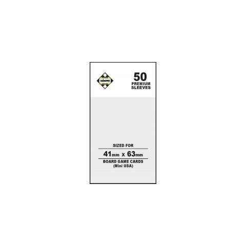 Протектори за карти 41x63 мм Kaissa Premium Mini American Board Game Standard Card Sleeves (50 броя, за настолни игри, прозрачни, плътни) в Chimera Size (41x63, 43x65 мм)
